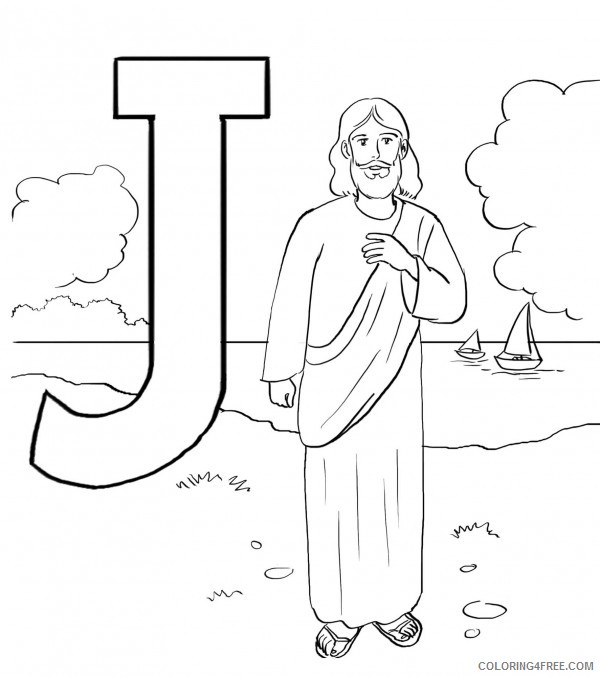 jesus with children j is for jesus Coloring4free