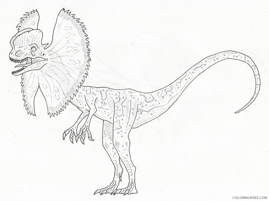 jurassic park coloring pages dilophosaurus Coloring4free