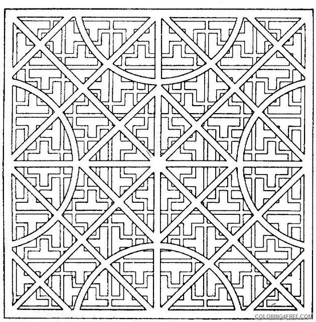kaleidoscope coloring pages geometric square Coloring4free