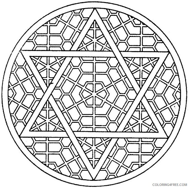 kaleidoscope coloring pages star of david Coloring4free