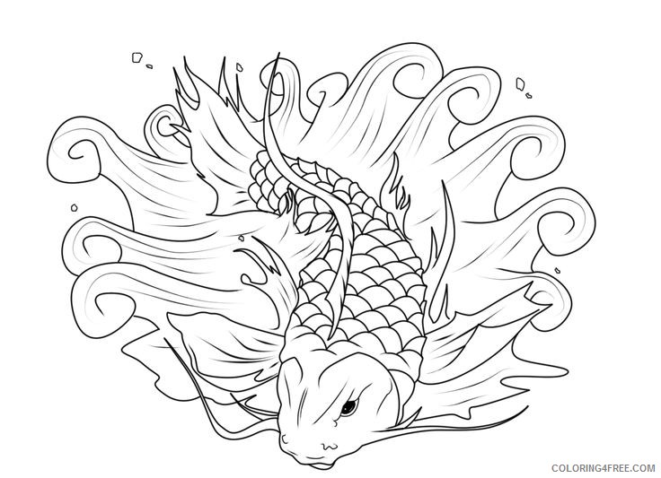 koi fish coloring pages to print Coloring4free