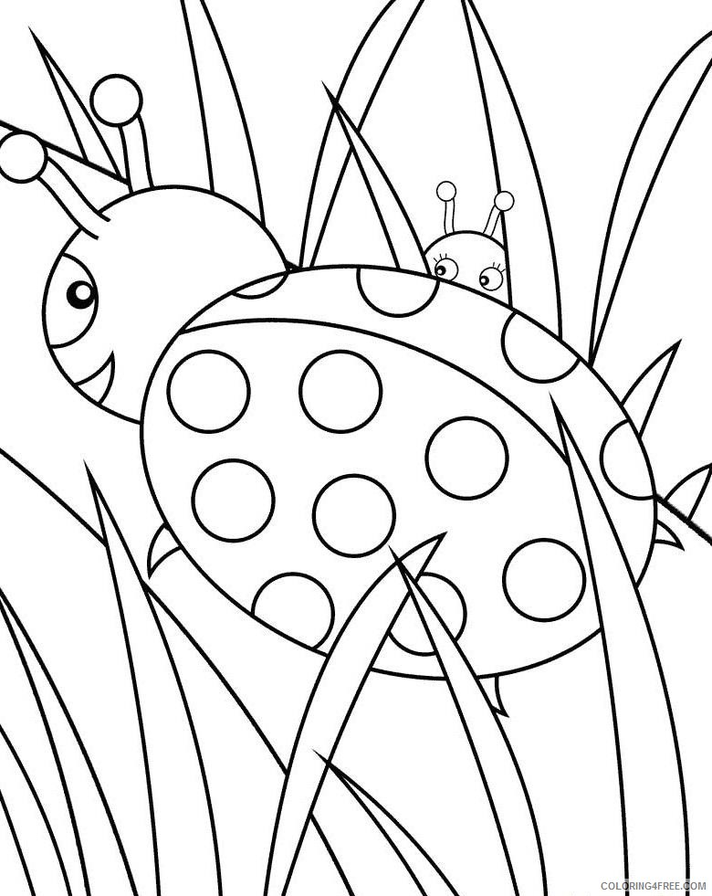 ladybug coloring pages on grass Coloring4free