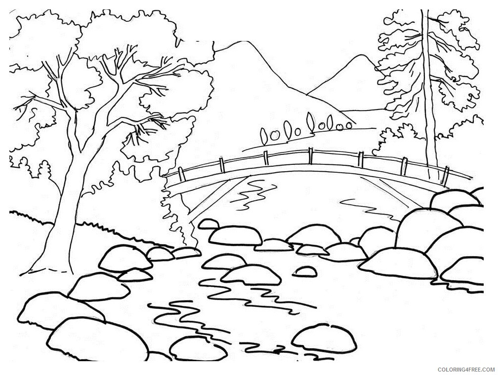 landscape coloring pages mountain river Coloring4free
