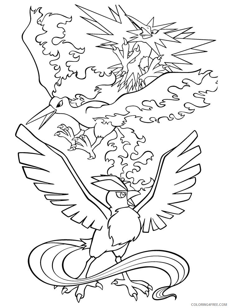 legendary pokemon coloring pages birds Coloring4free