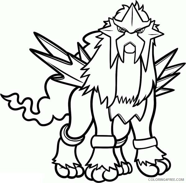 legendary pokemon coloring pages entei Coloring4free