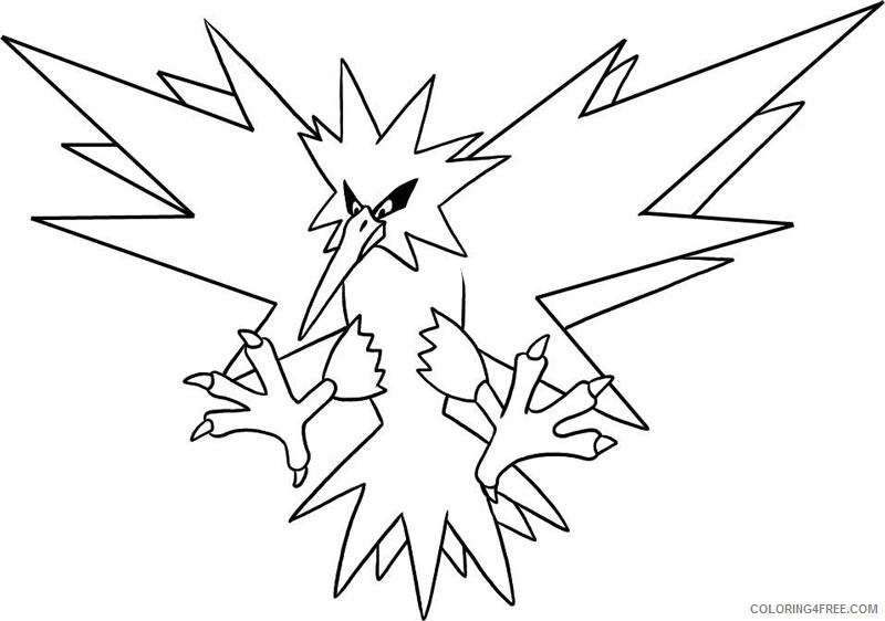 legendary pokemon coloring pages zapdos Coloring4free