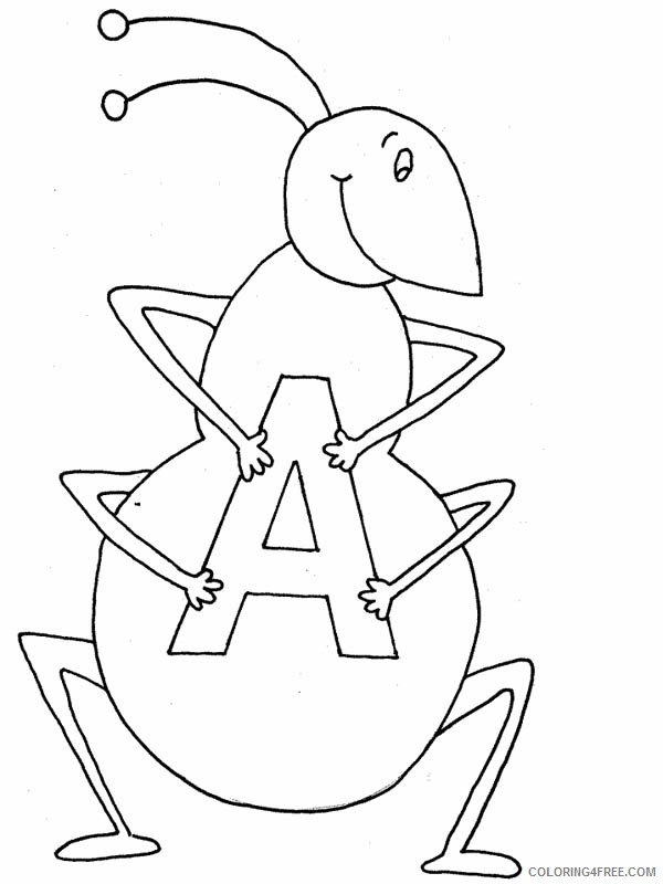 letter a coloring pages a for ant Coloring4free