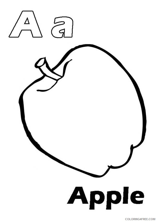 letter a coloring pages a for apple Coloring4free