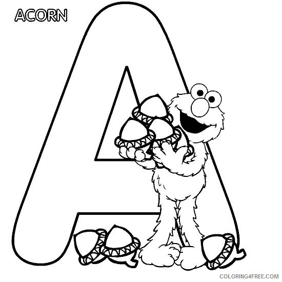 letter a coloring pages accorn Coloring4free