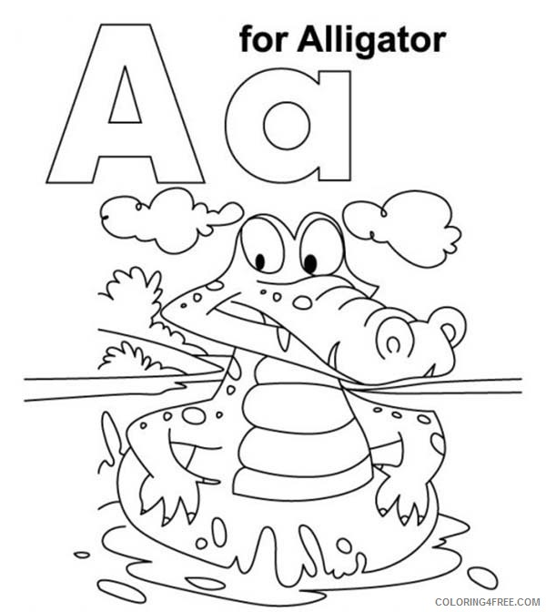 letter a coloring pages alligator Coloring4free