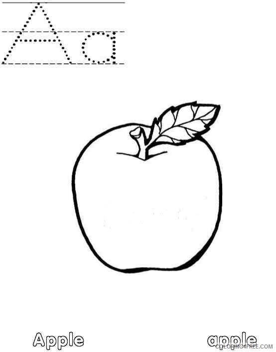 letter a coloring pages apple starts with a Coloring4free