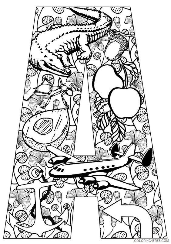 letter a coloring pages for adults Coloring4free