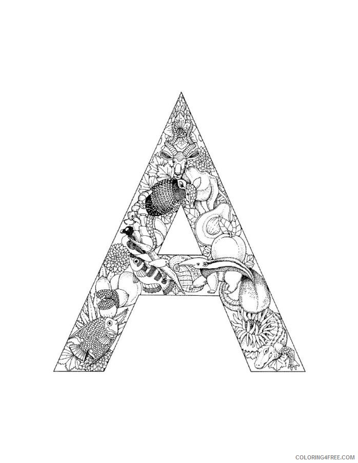 letter a coloring pages for adults printable Coloring4free