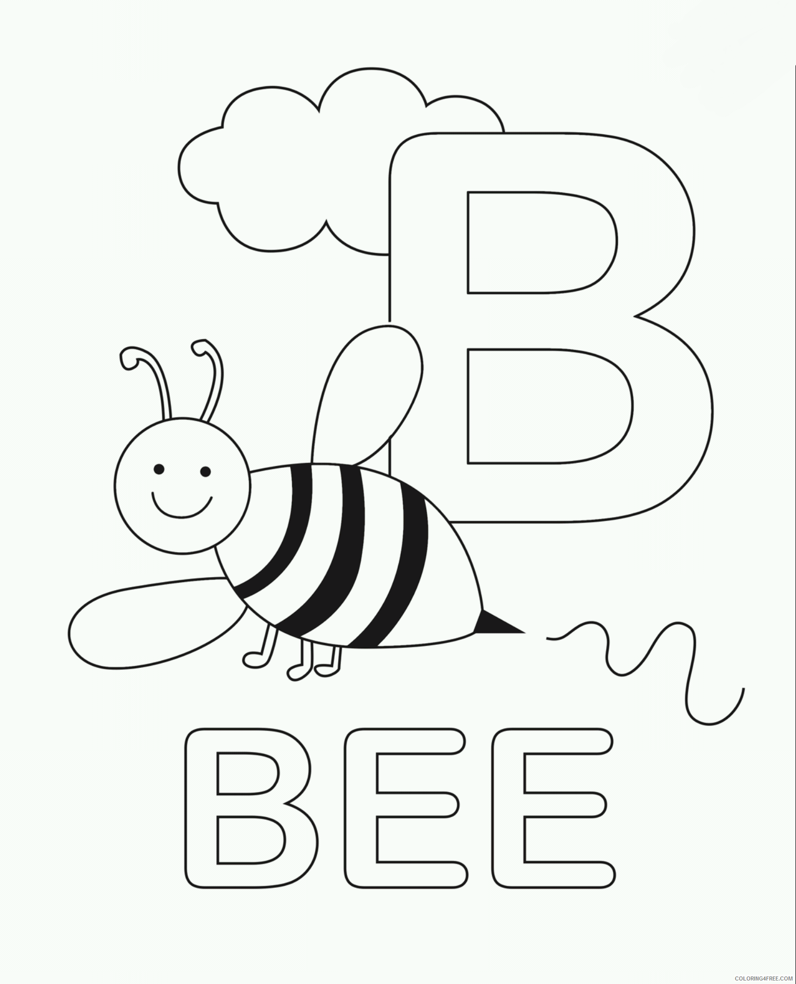 letter coloring pages b for bee Coloring4free