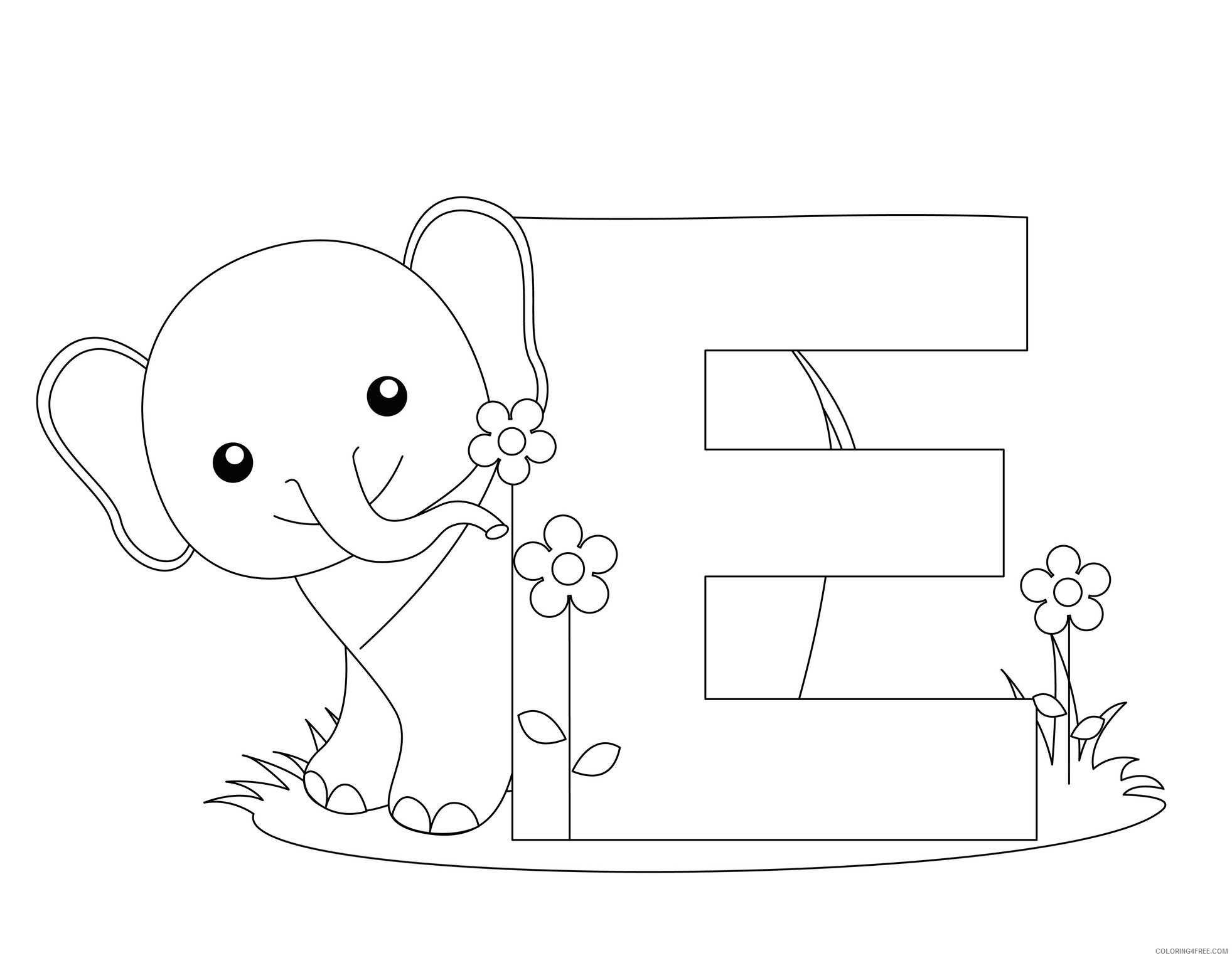 letter coloring pages e is for elephant Coloring4free