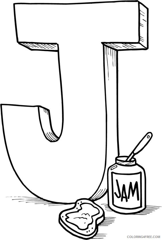letter coloring pages j for jam Coloring4free