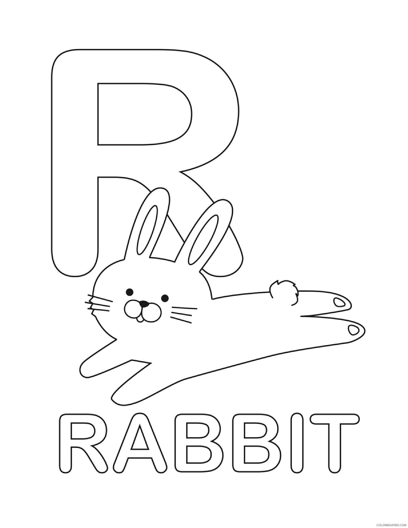 letter coloring pages r for rabbit Coloring4free