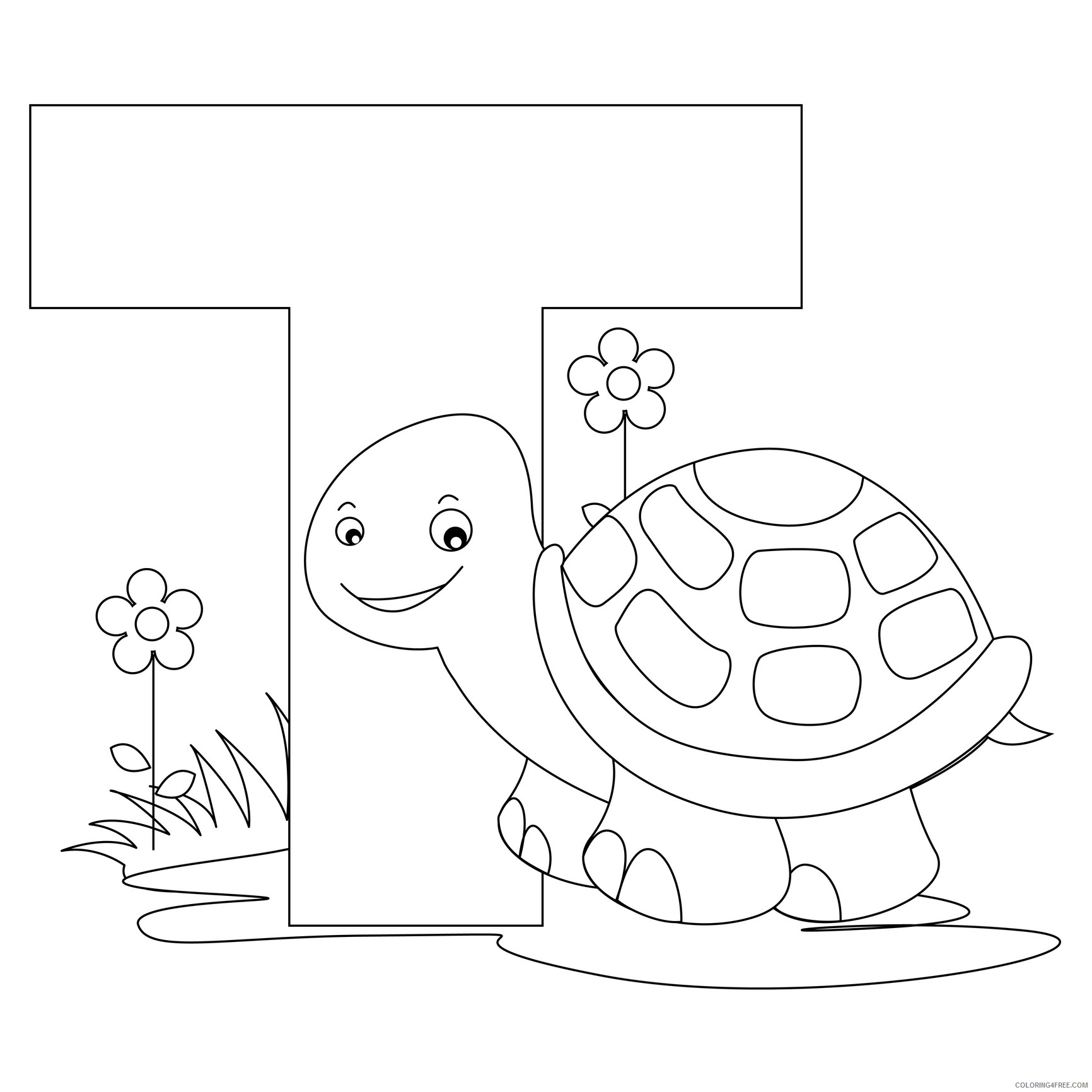 letter coloring pages t for turtle Coloring4free