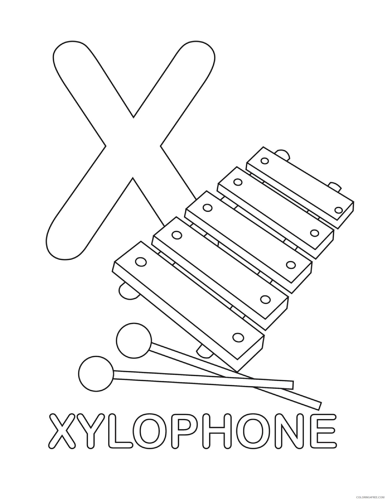 letter coloring pages x for xylophone Coloring4free