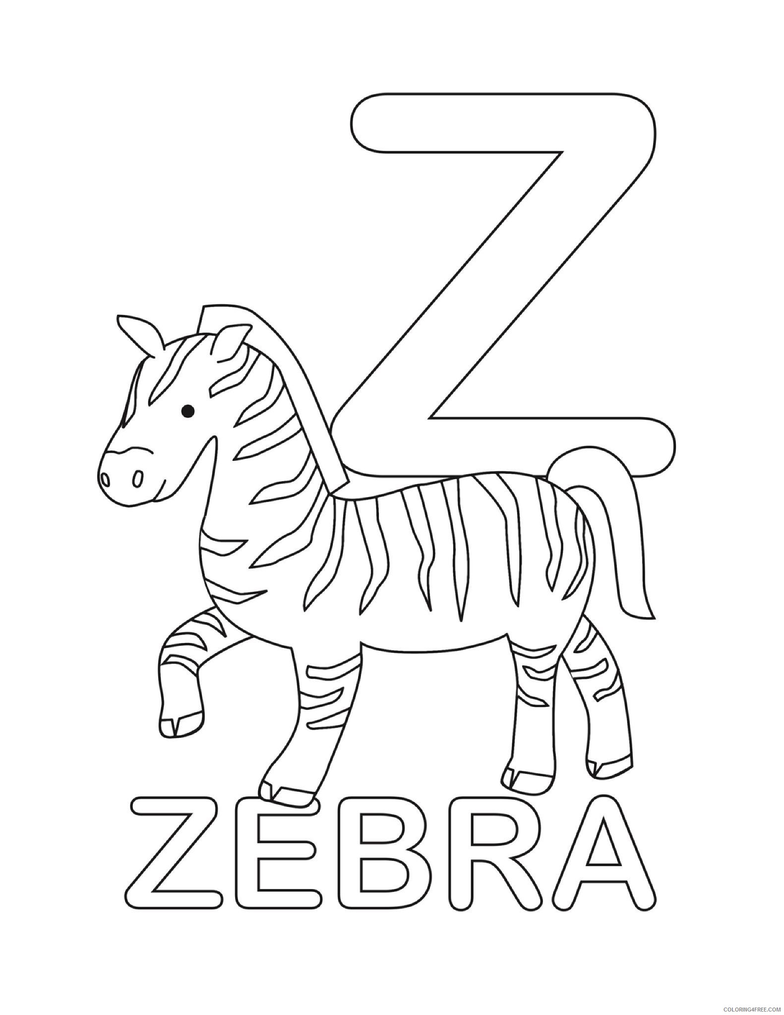 letter coloring pages z for zebra Coloring4free