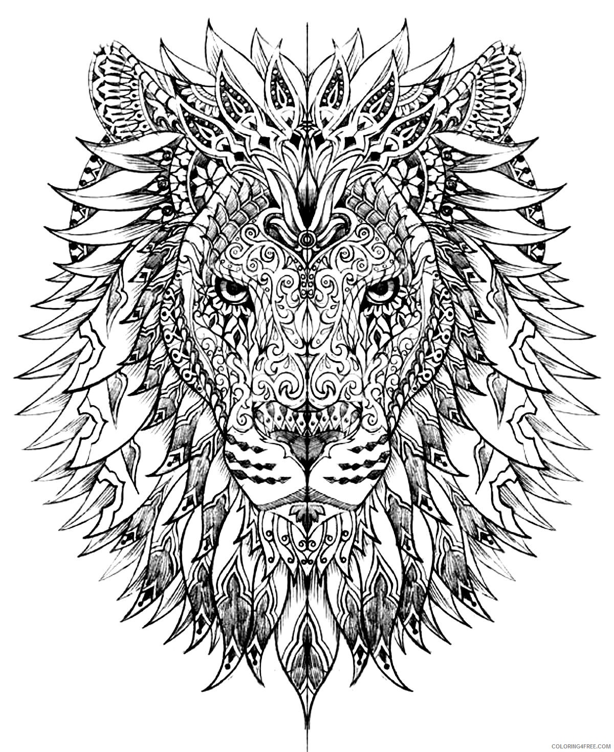 lion head adult coloring pages Coloring4free