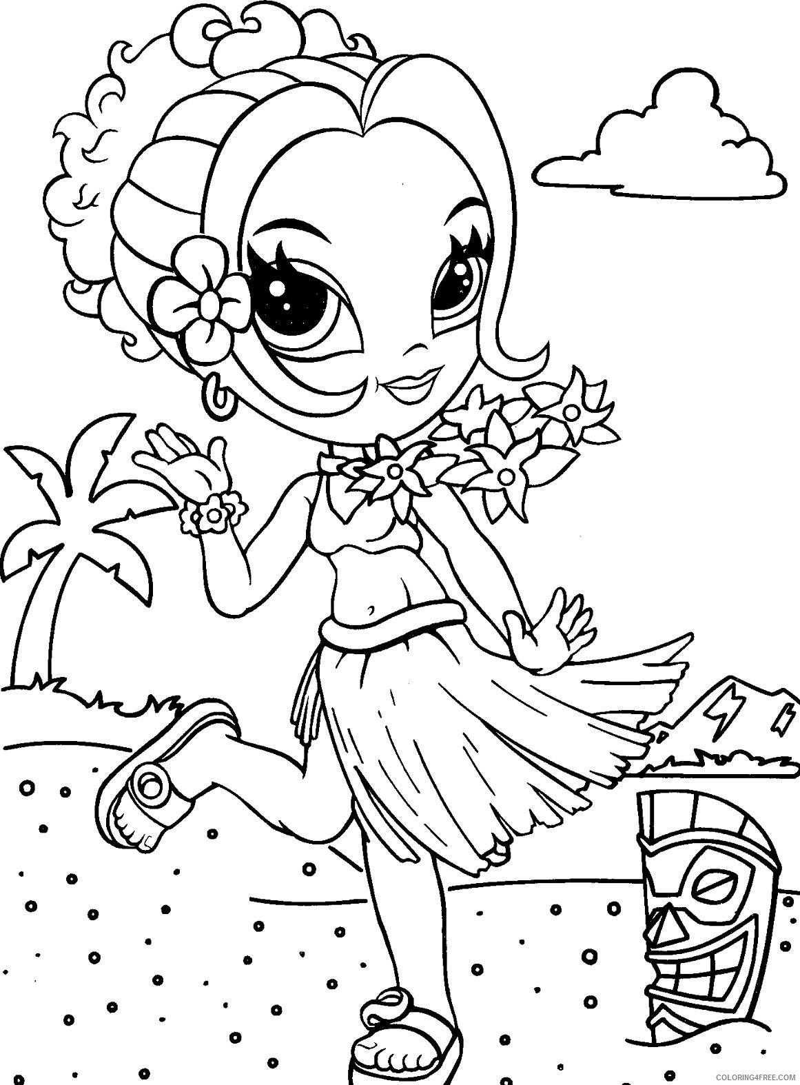 lisa frank coloring pages girl at hawaii beach Coloring4free