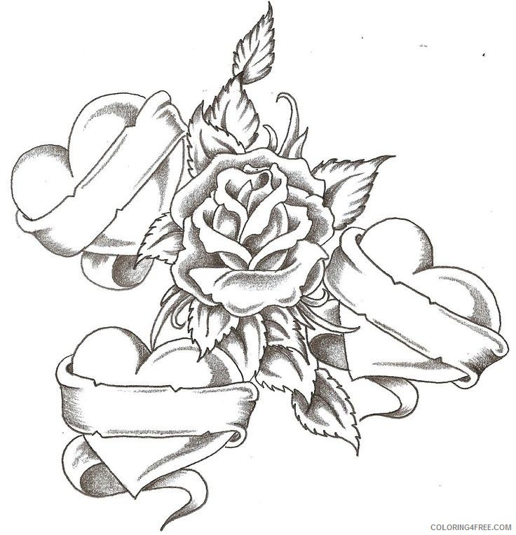 love and rose coloring pages for teens Coloring4free