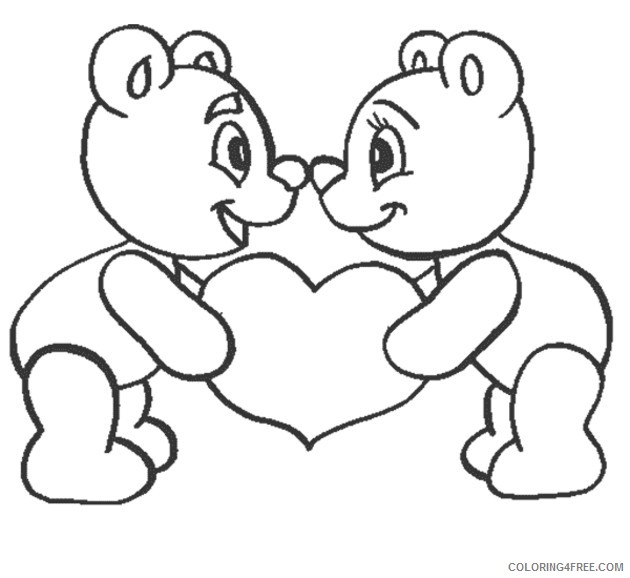 love coloring pages teddy bear in love Coloring4free