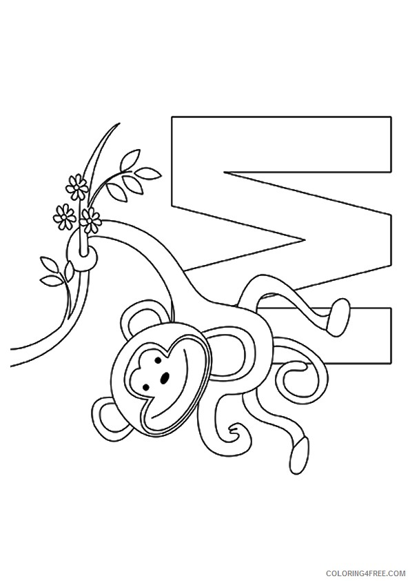 m for monkey coloring pages Coloring4free