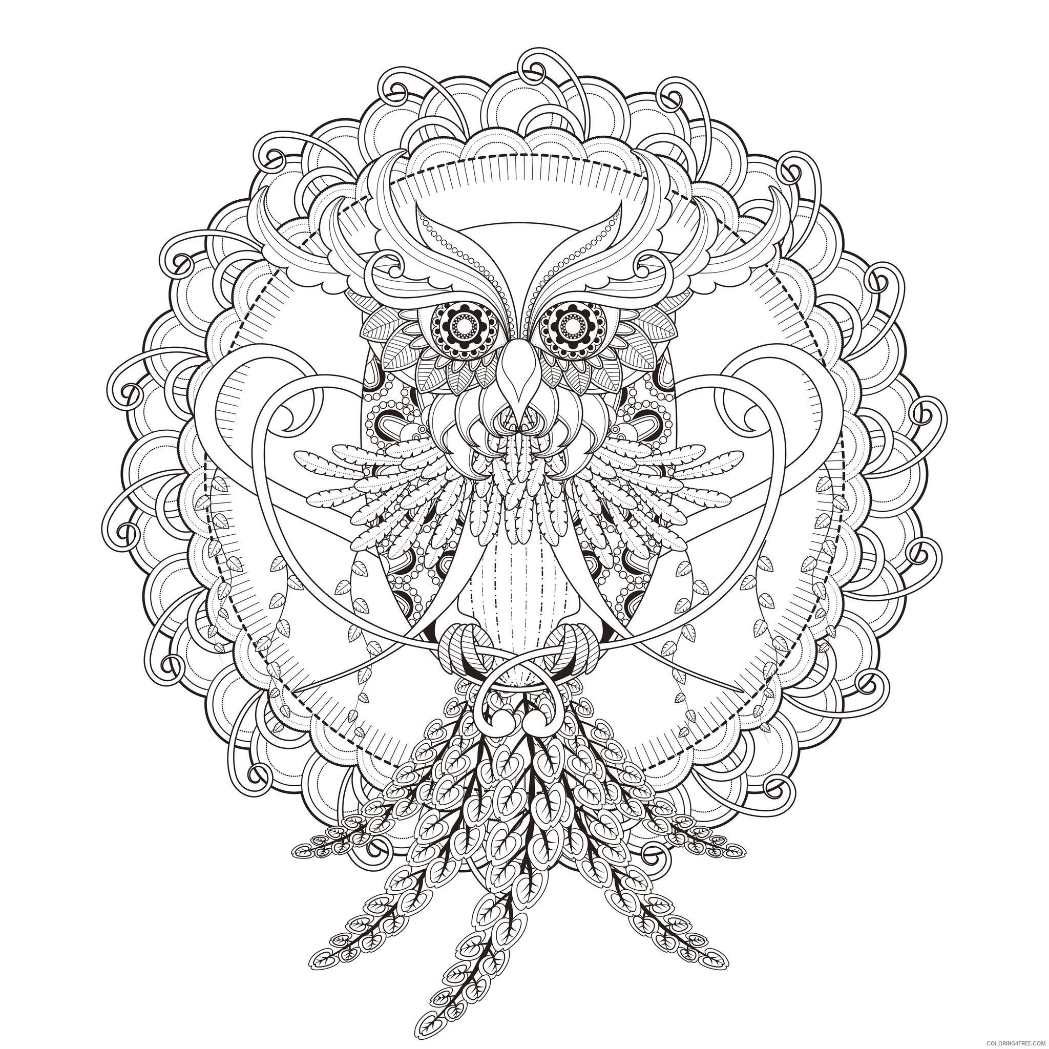 mandala coloring pages owl by kchung Coloring4free
