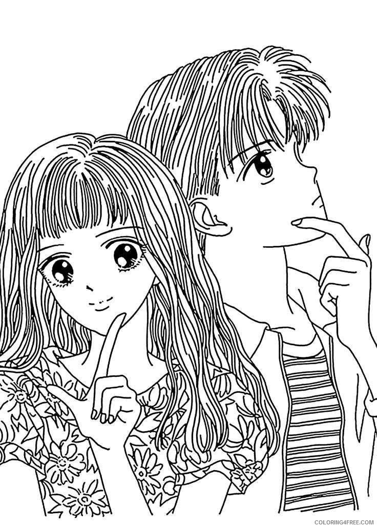 manga coloring pages couple Coloring4free