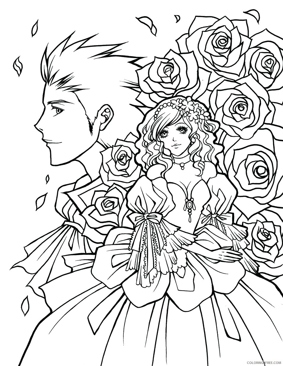 manga coloring pages for adults Coloring4free