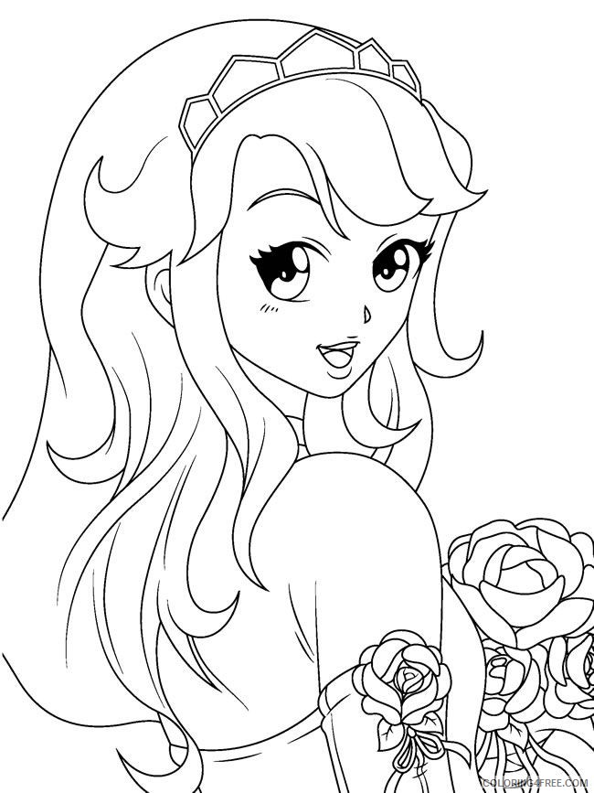 manga coloring pages girl with rose Coloring4free