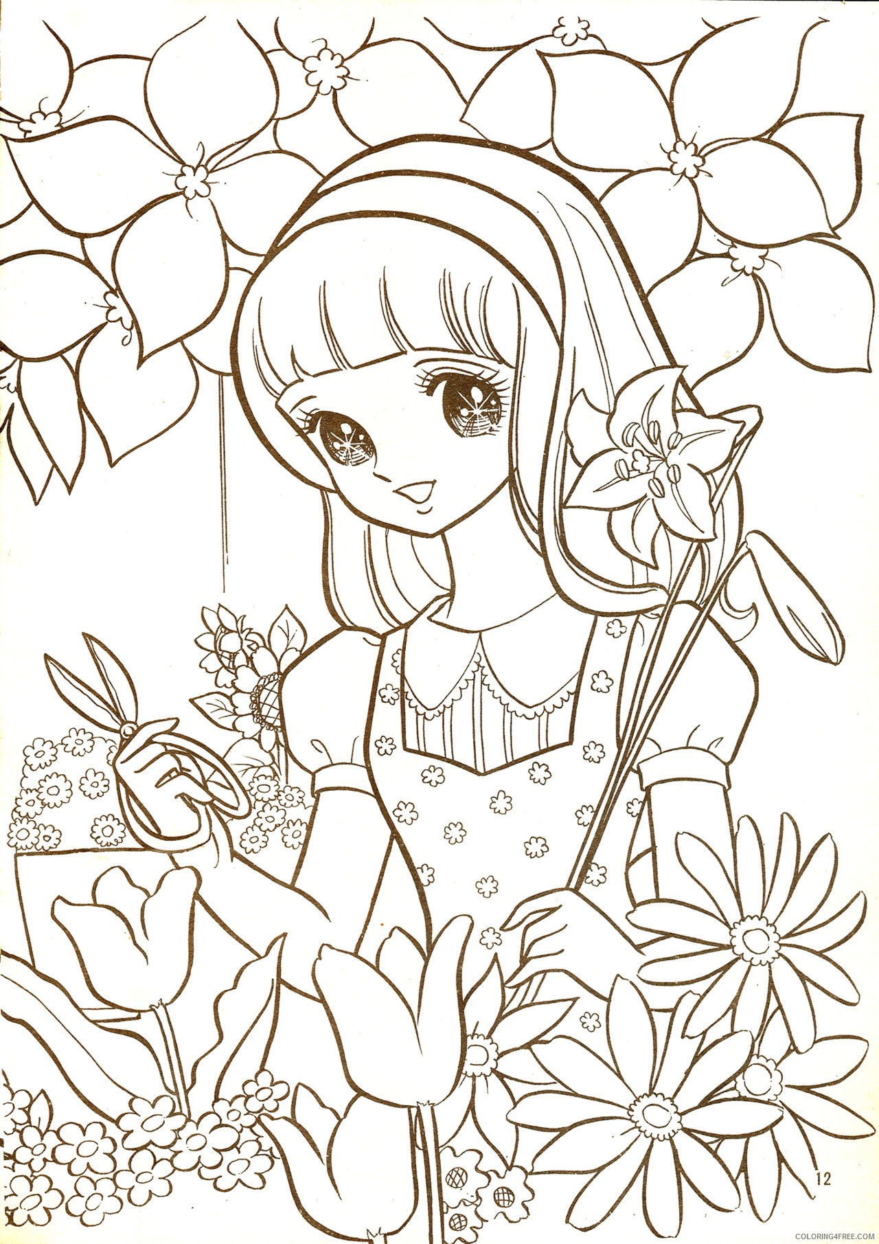 manga coloring pages in flower garden Coloring4free