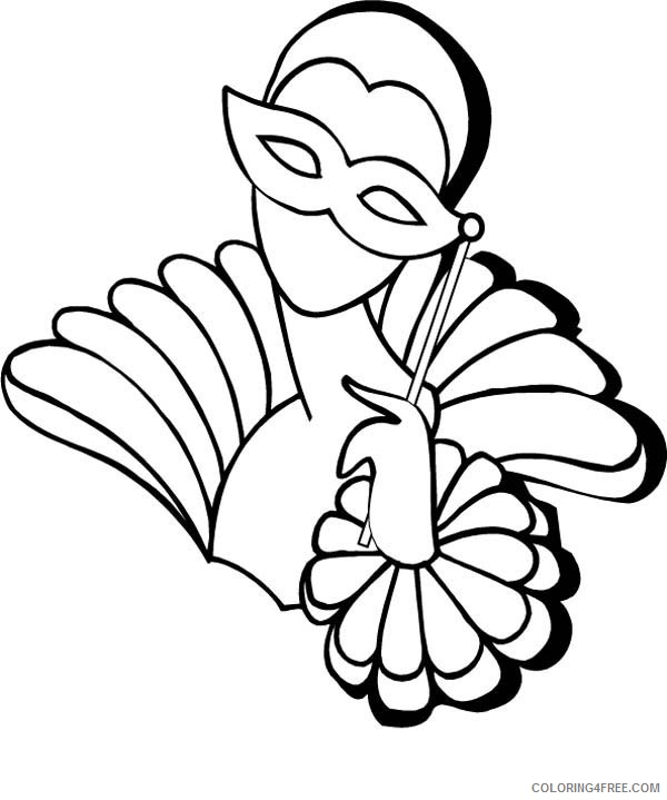 mardi gras coloring pages masked girl Coloring4free