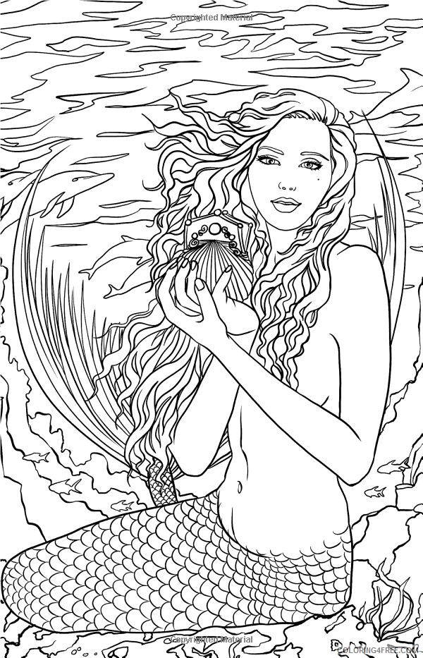 mermaid fantasy coloring pages for adults Coloring4free