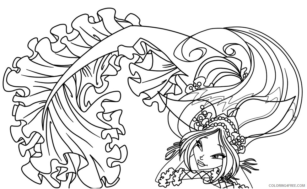 mermaid fantasy coloring pages for kids Coloring4free