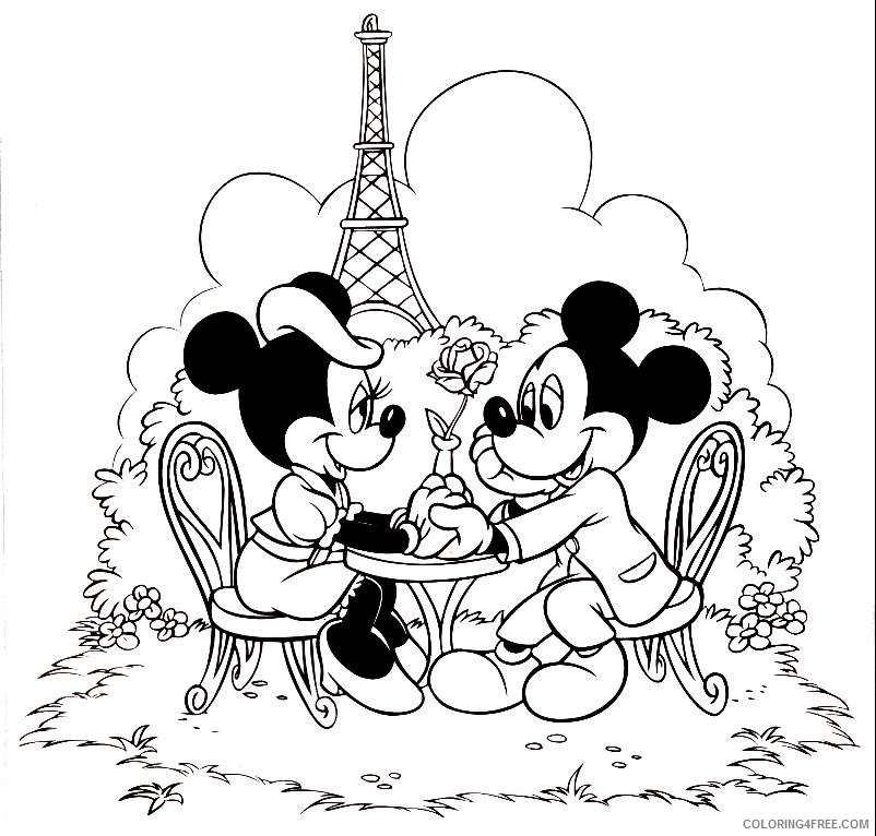 mickey minnie mouse coloring pages in paris Coloring4free