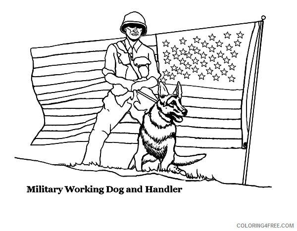 military coloring pages dog and handler Coloring4free