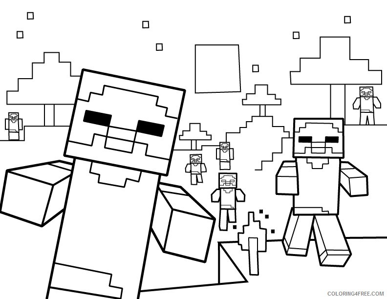 minecraft zombie coloring pages to print Coloring4free