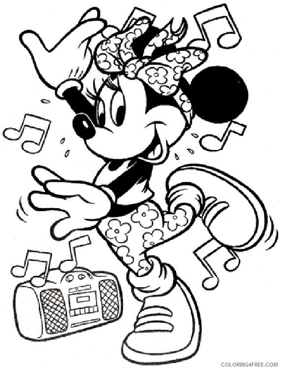 minnie mouse coloring pages music dance Coloring4free