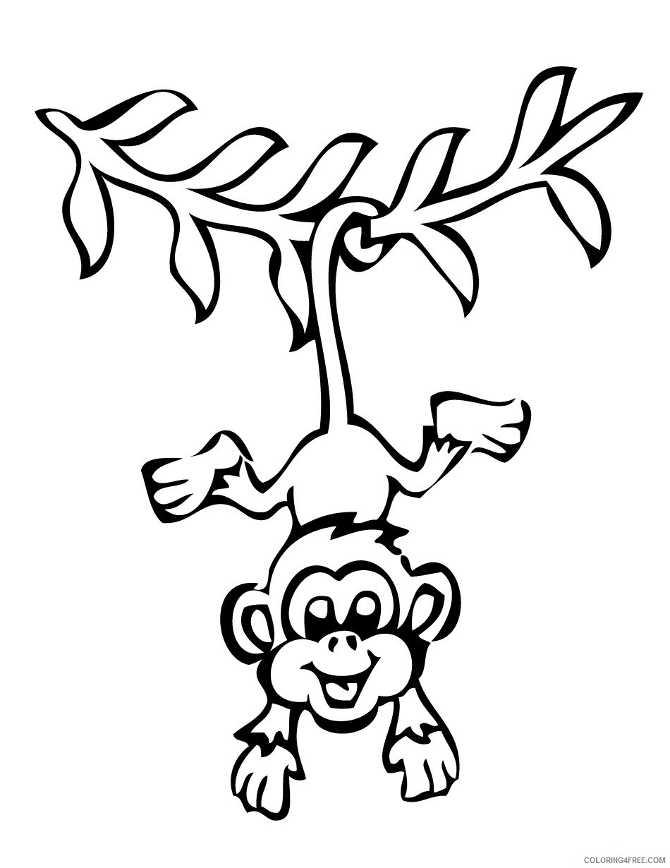 monkey coloring pages hanging by tail Coloring4free
