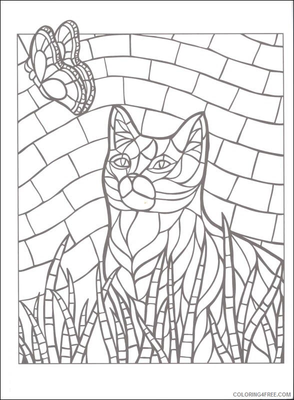 mosaic coloring pages cat and butterfly Coloring4free
