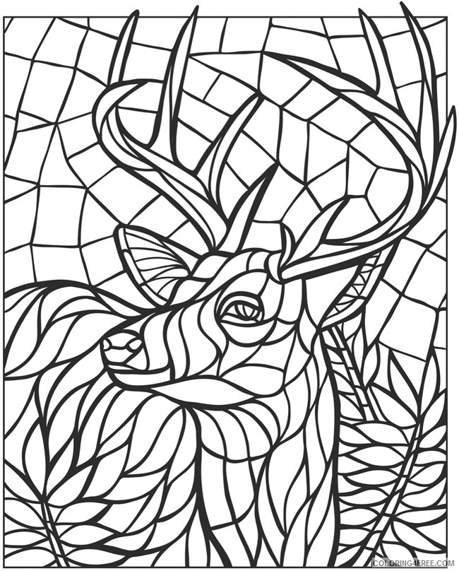 mosaic coloring pages deer Coloring4free