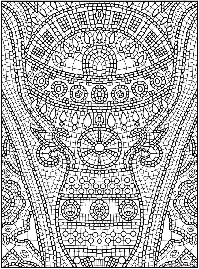 mosaic coloring pages hard for adults Coloring4free