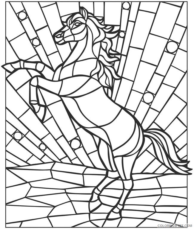 mosaic coloring pages horse Coloring4free