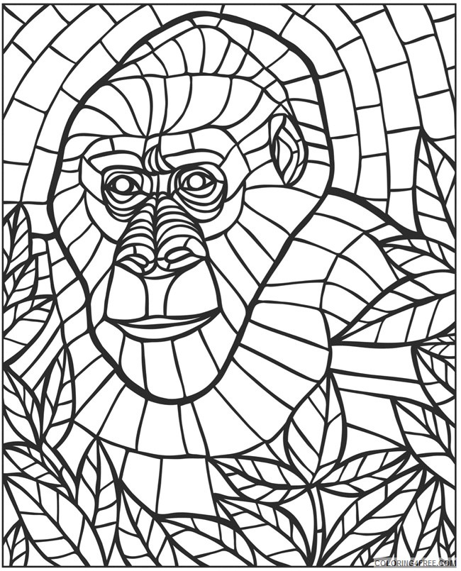 mosaic coloring pages monkey Coloring4free