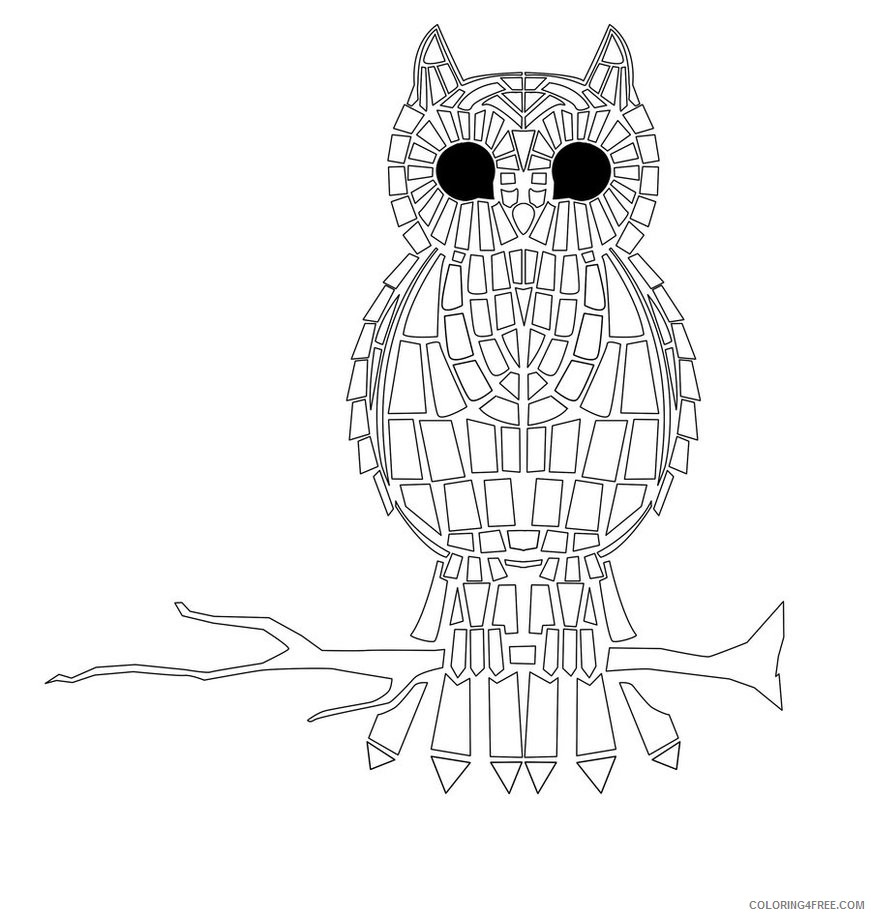 mosaic coloring pages owl Coloring4free