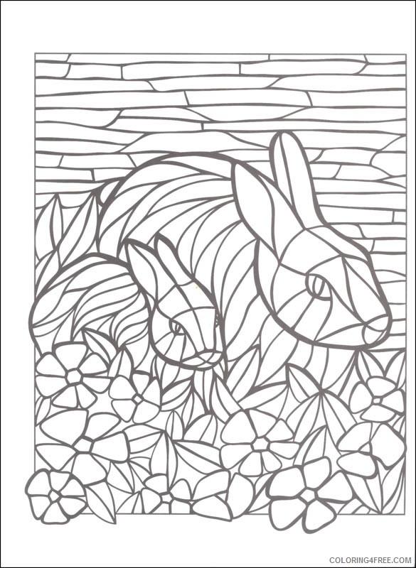 mosaic coloring pages rabbits Coloring4free