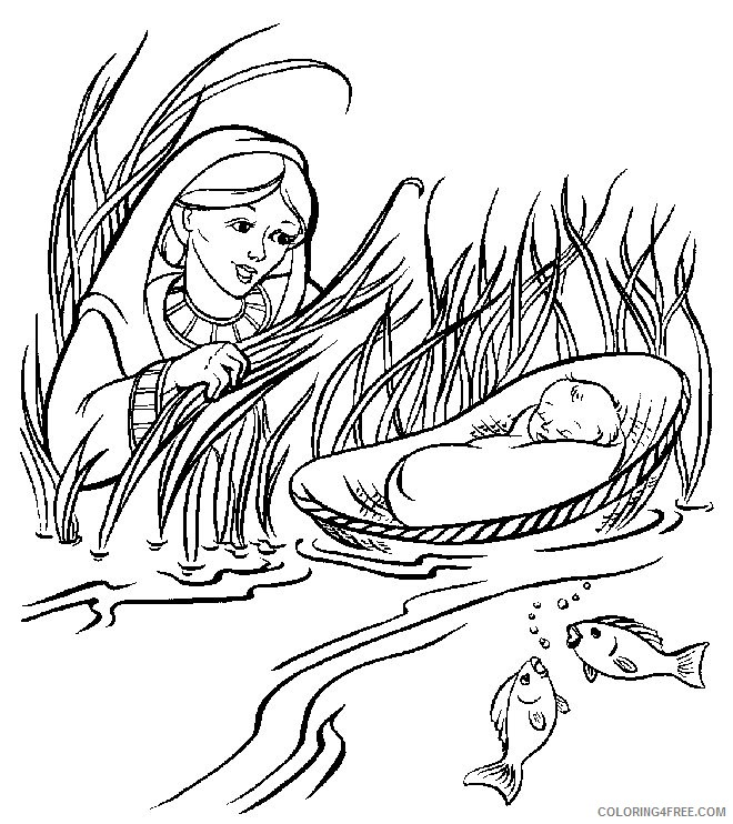 moses coloring pages and his mother Coloring4free